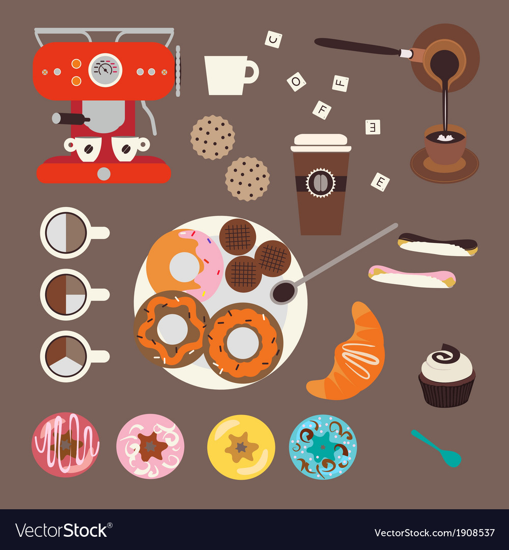 Coffee and sweets vector | Price: 1 Credit (USD $1)
