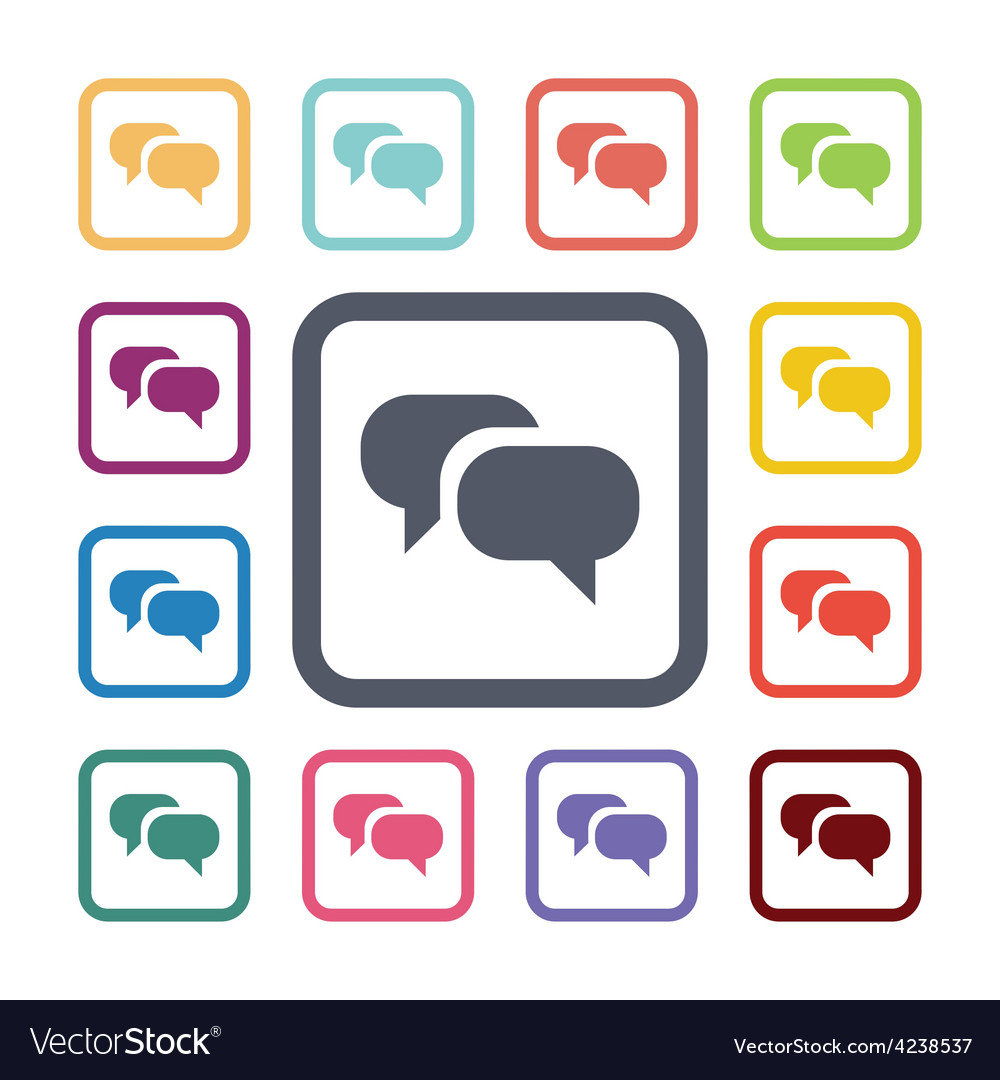 Conversation flat icons set vector | Price: 1 Credit (USD $1)