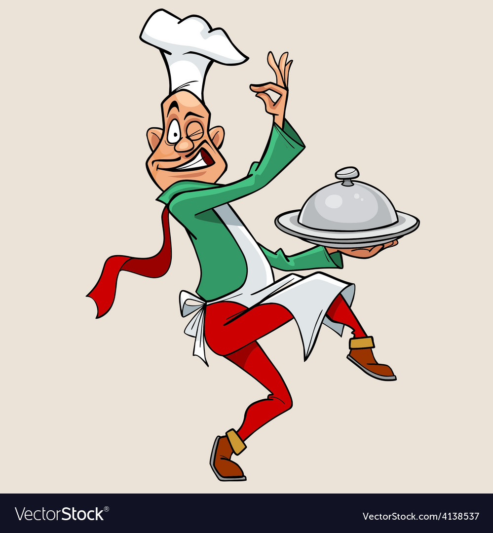 Funny cartoon chef holding meal and walks vector | Price: 3 Credit (USD $3)