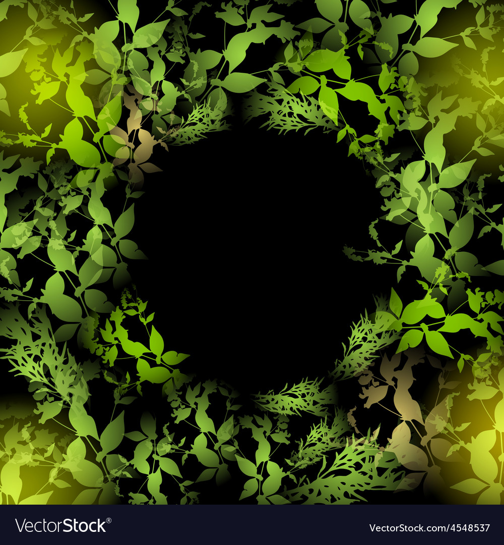 Glare green leaves on a black background round vector | Price: 1 Credit (USD $1)