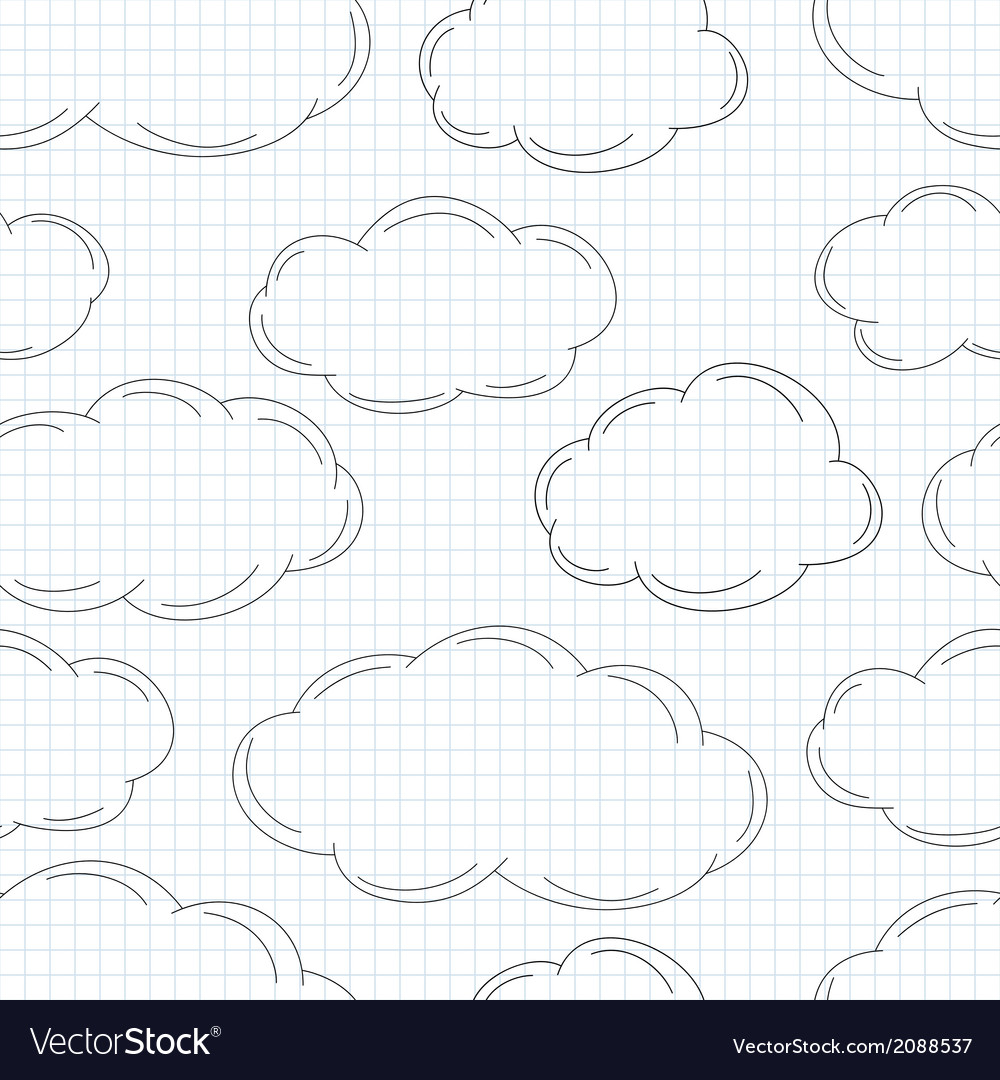 Hand drawn clouds on squared paper vector | Price: 1 Credit (USD $1)