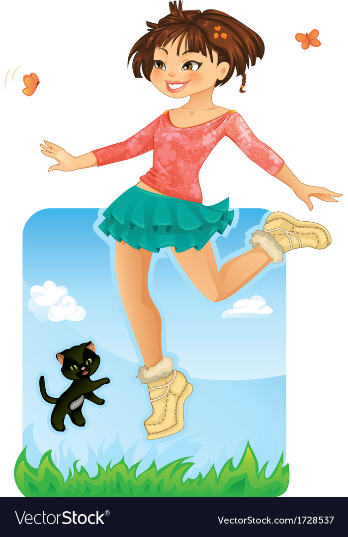 Happy girl jumping vector | Price: 3 Credit (USD $3)