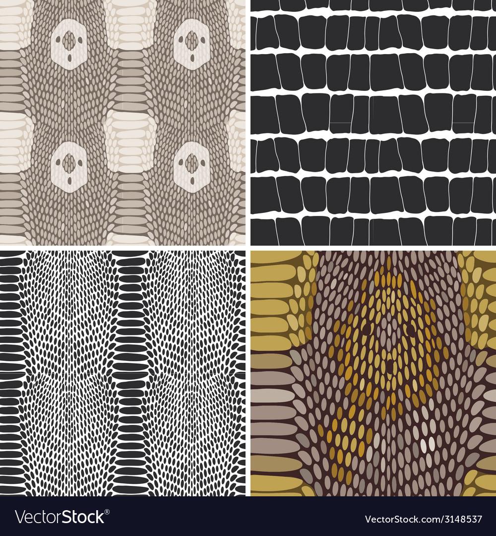 Snake skin texture set seamless pattern vector   Price: 1 Credit (USD $1)