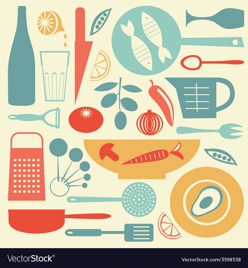 A stylish colorful kitchen collection vector | Price: 1 Credit (USD $1)