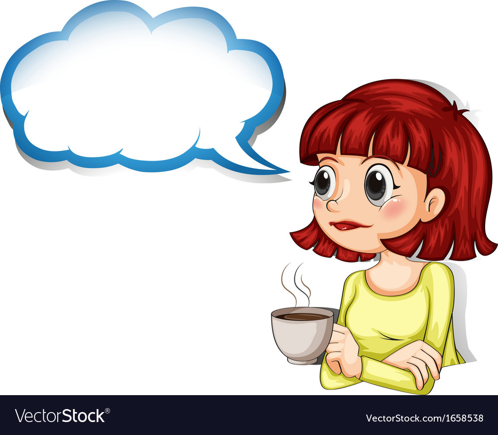 A woman having her cup of coffee with an empty vector | Price: 3 Credit (USD $3)