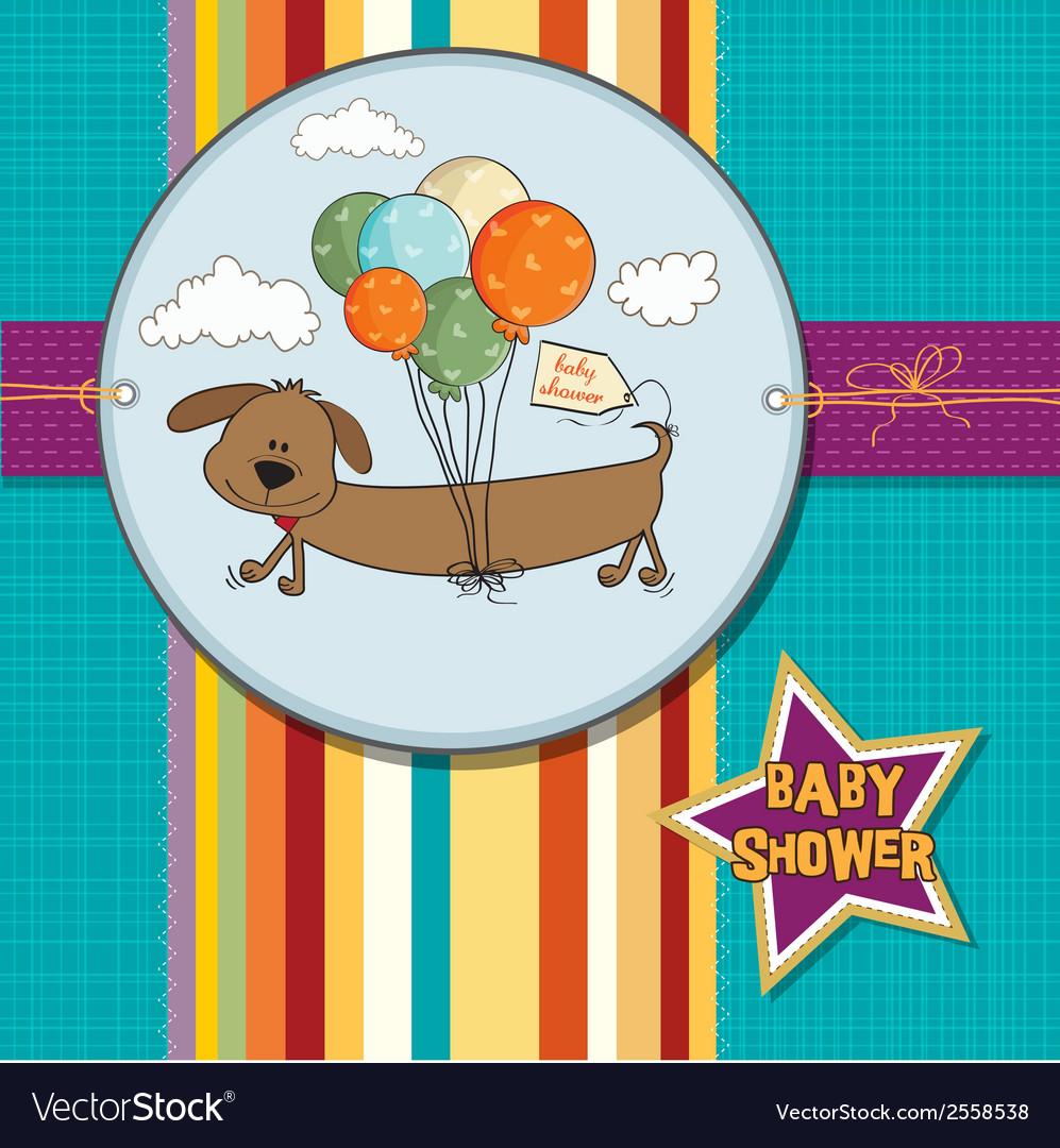 Baby shower card with long dog and balloons vector | Price: 1 Credit (USD $1)