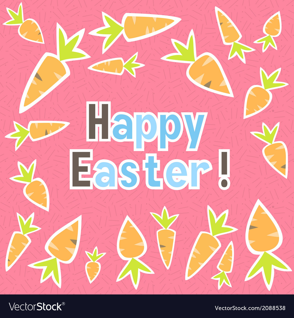Easter carrots card on a pink vector | Price: 1 Credit (USD $1)