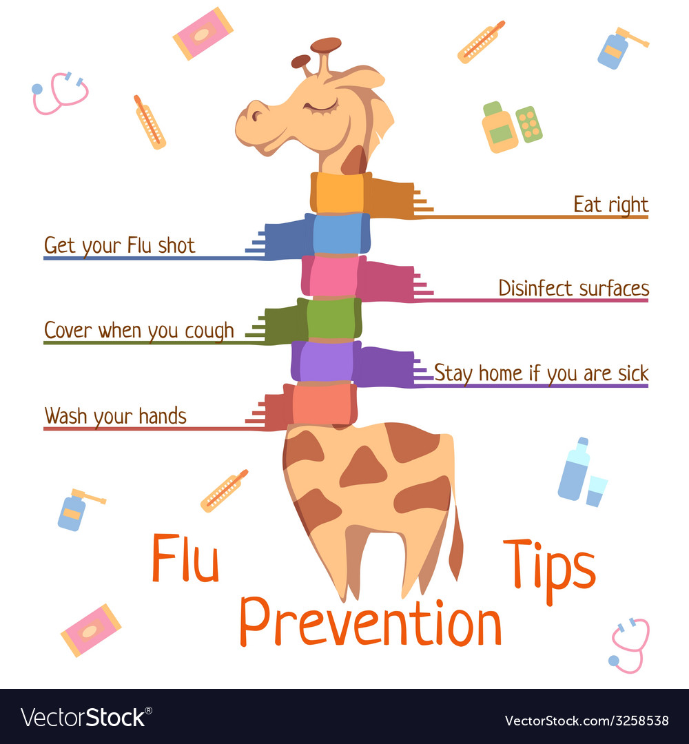Flu prevention tips with giraffe vector | Price: 1 Credit (USD $1)