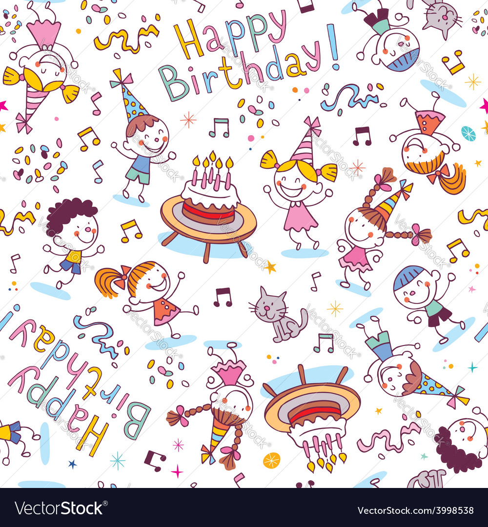 Happy birthday kids party pattern vector | Price: 1 Credit (USD $1)