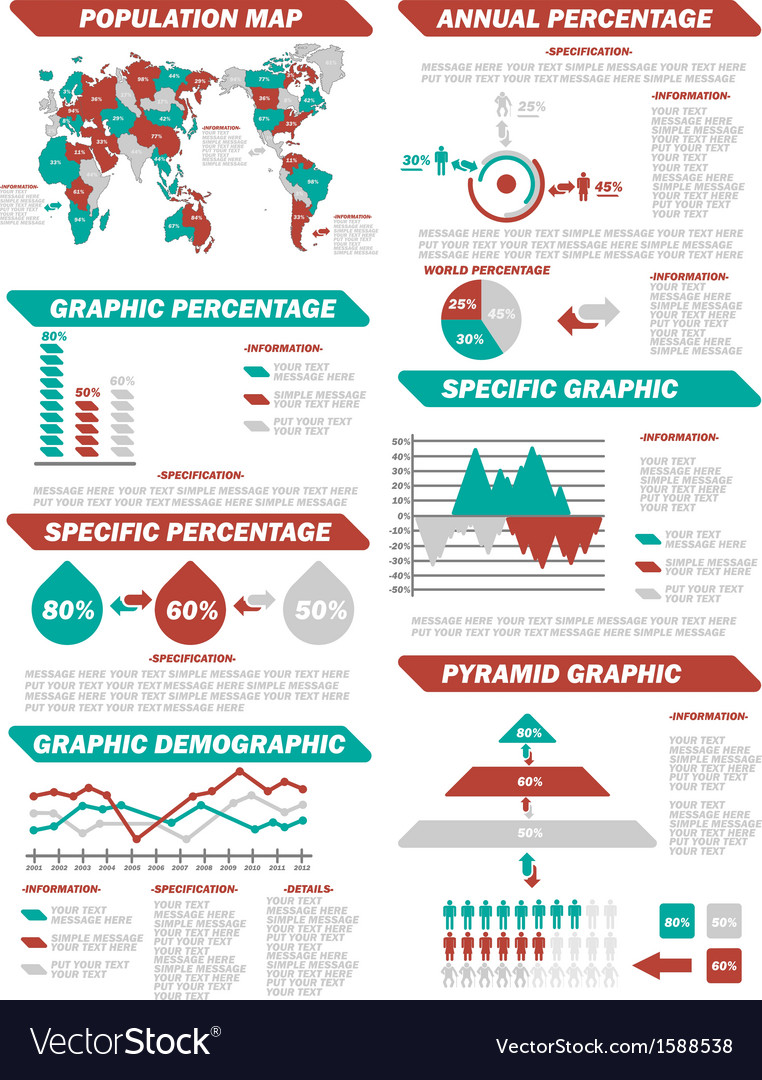 Infographic demographic elements new red vector | Price: 1 Credit (USD $1)
