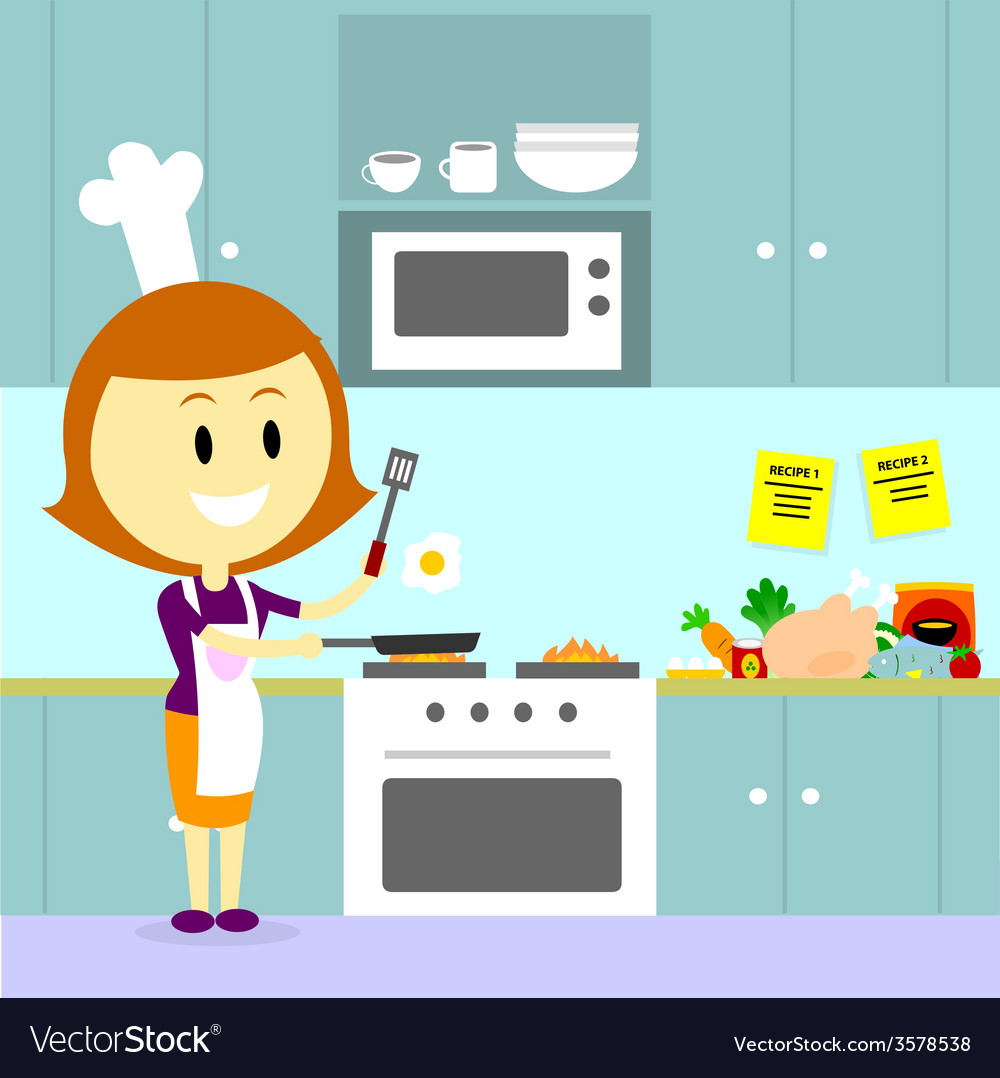 Mom cooking in the kitchen vector | Price: 1 Credit (USD $1)