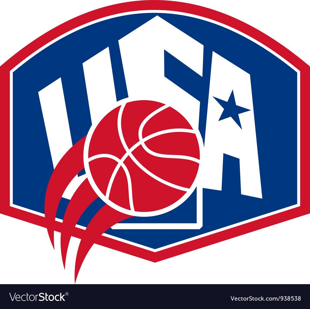 United states usa american basketball ball shield vector | Price: 1 Credit (USD $1)