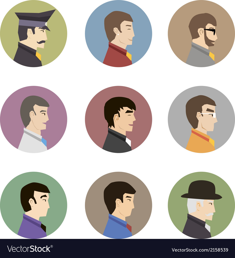 Avatar collection of stylish handsome male vector | Price: 1 Credit (USD $1)