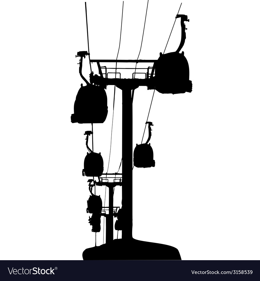 Cable-cars silhouette vector | Price: 1 Credit (USD $1)
