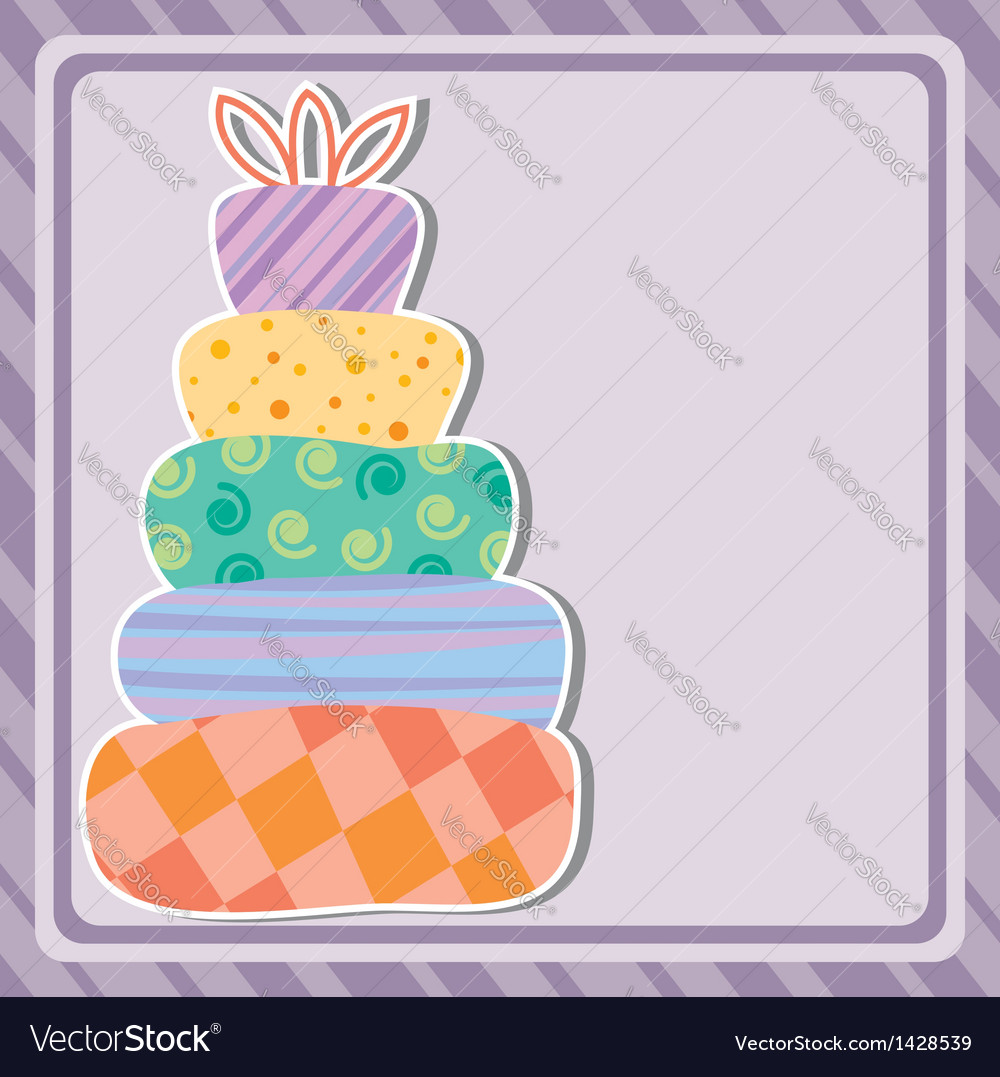 Card with birthday cake vector | Price: 1 Credit (USD $1)
