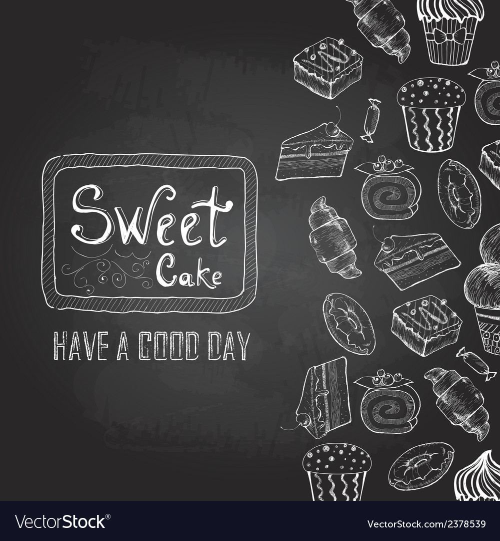 Chalk drawing decorative sketch of cakes menu vector
