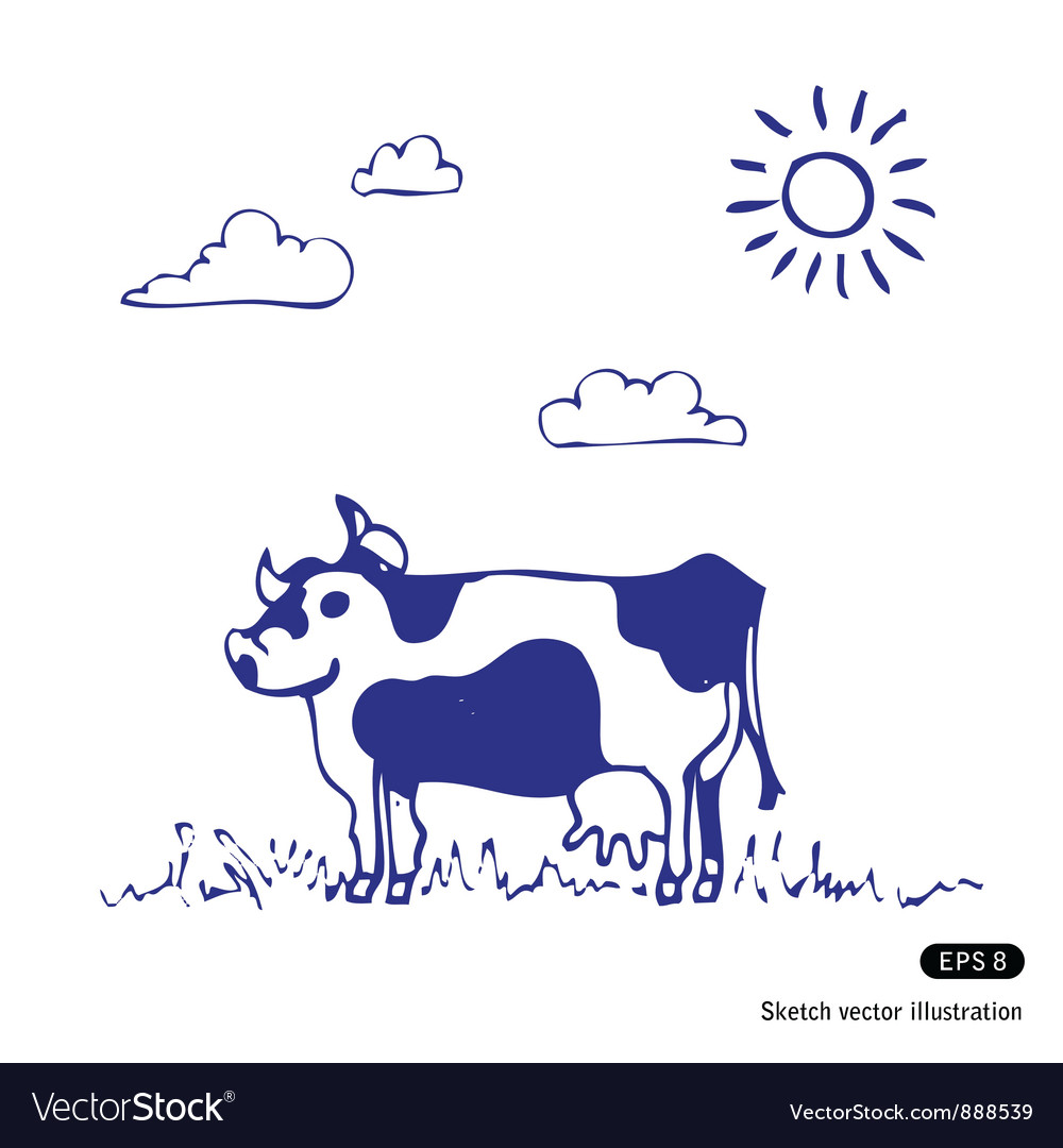 Cow grazes vector | Price: 1 Credit (USD $1)
