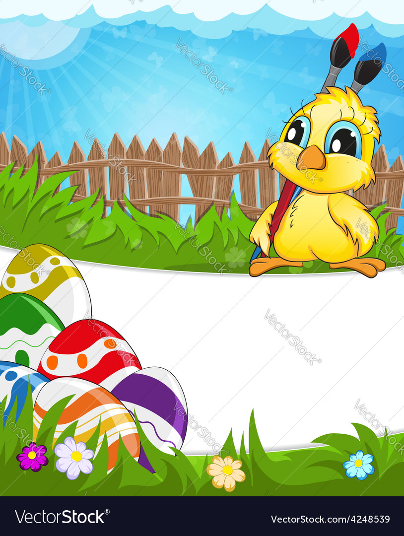 Easter scene with chicken and colorful eggs vector | Price: 3 Credit (USD $3)