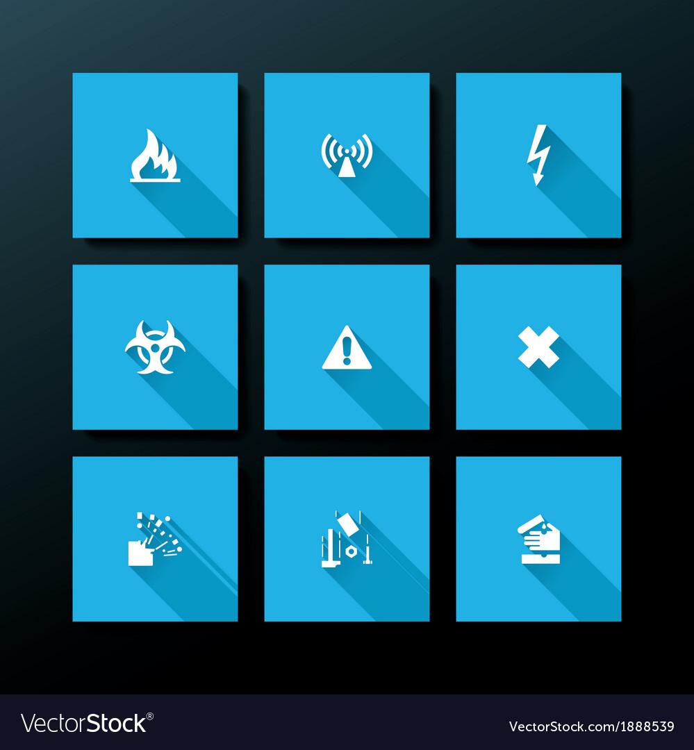 Flat warning icon set vector | Price: 1 Credit (USD $1)
