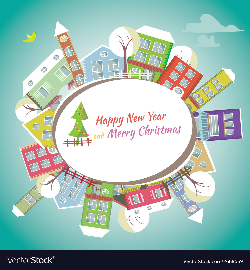 Happy new year greeting card - home background vector | Price: 1 Credit (USD $1)