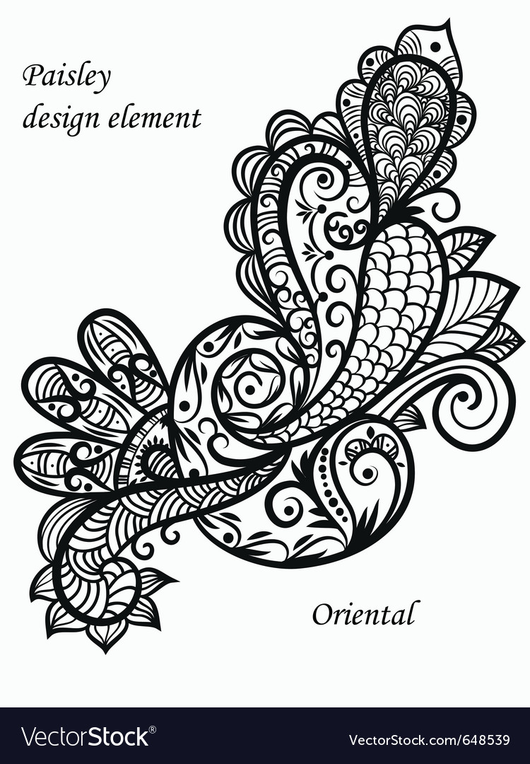 Monochrome paisley vector | Price: 1 Credit (USD $1)