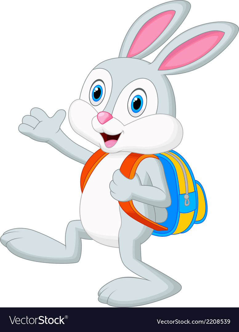 Rabbit cartoon with backpack vector | Price: 1 Credit (USD $1)