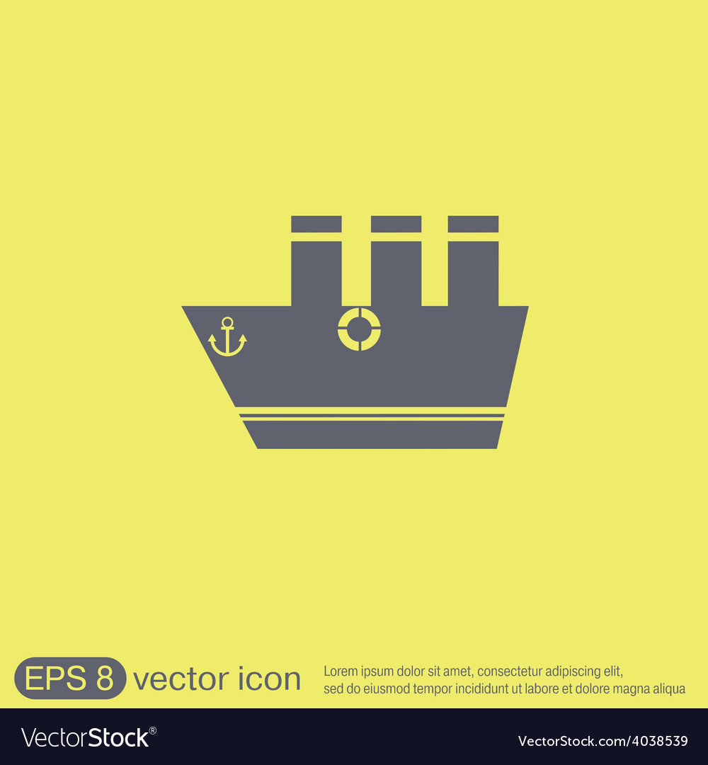 Sailing ship symbol icon boat steamer sailboat vector | Price: 1 Credit (USD $1)