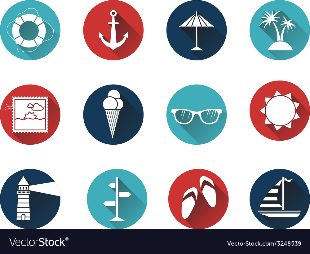Set of 12 round icons with long flat shadow vector | Price: 1 Credit (USD $1)