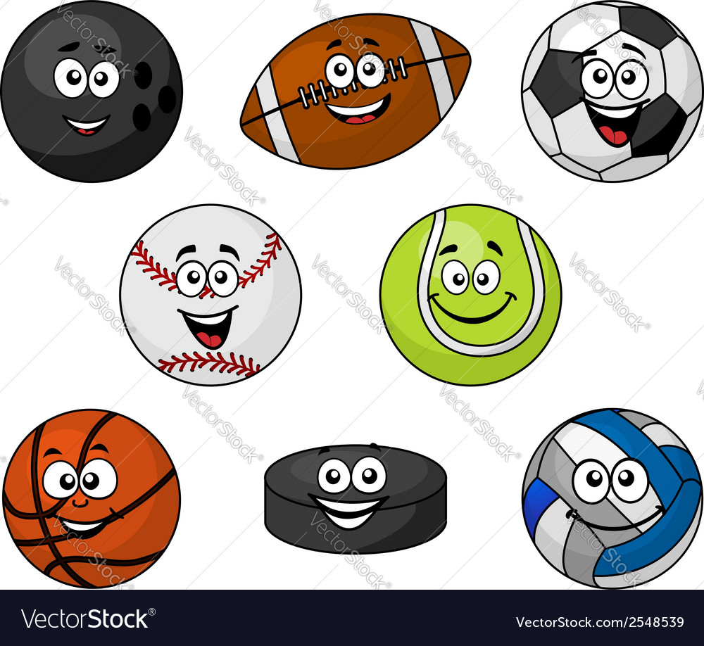 Set of cartoon sports equipment vector | Price: 1 Credit (USD $1)