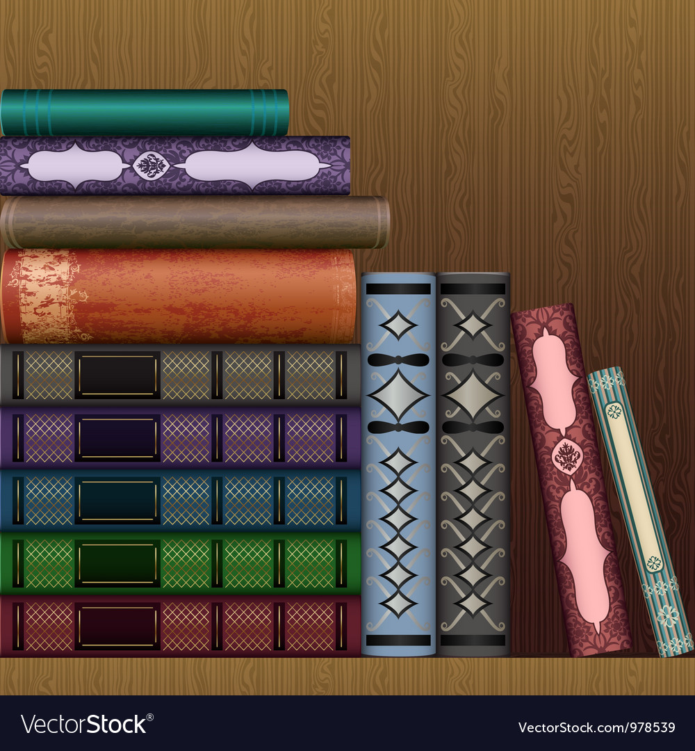 Shelf with old books vector | Price: 3 Credit (USD $3)