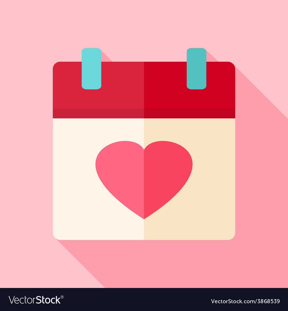 Valentine day holiday calendar with heart vector | Price: 1 Credit (USD $1)
