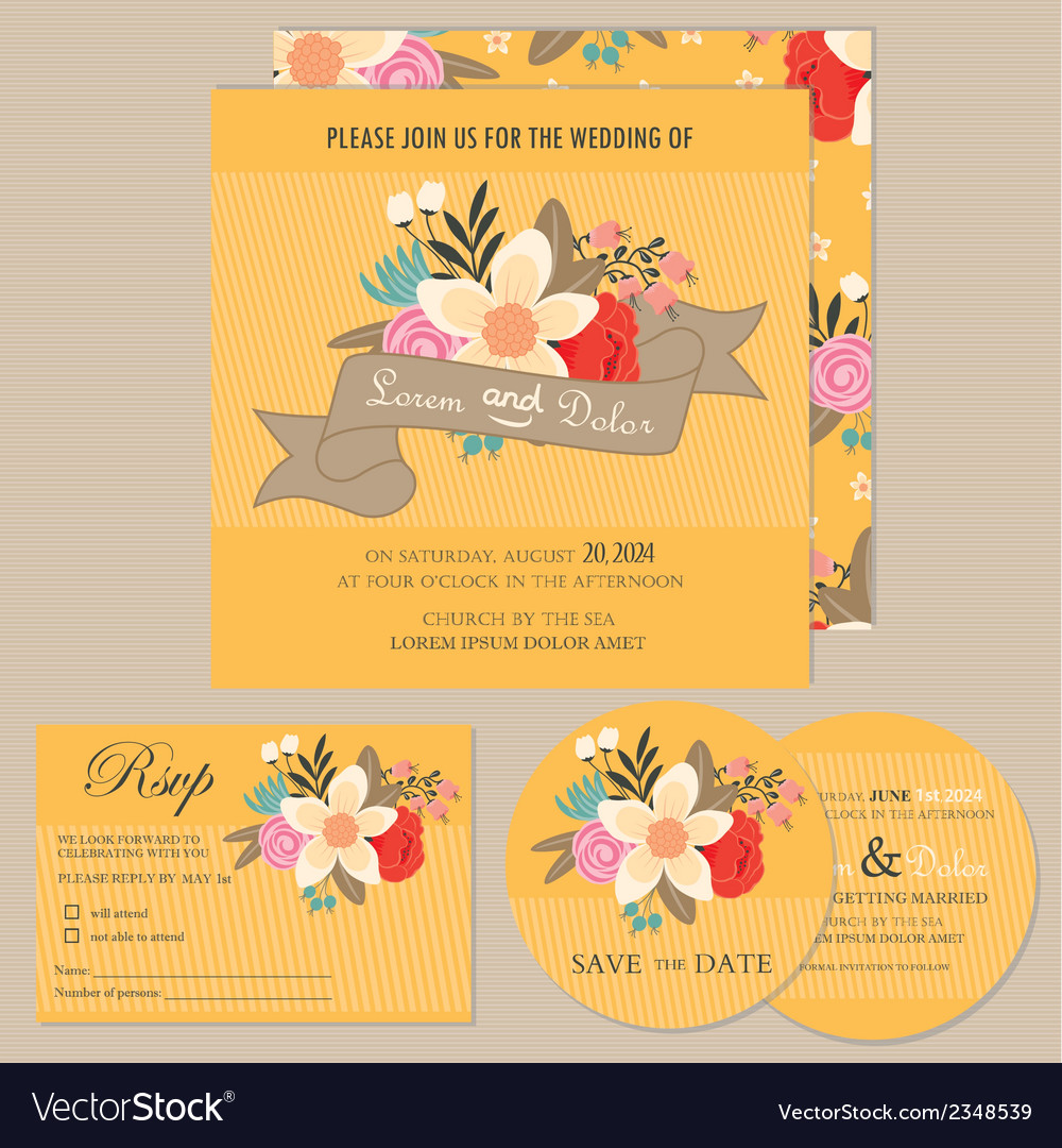 Wedding invitation set with flowers vector | Price: 1 Credit (USD $1)