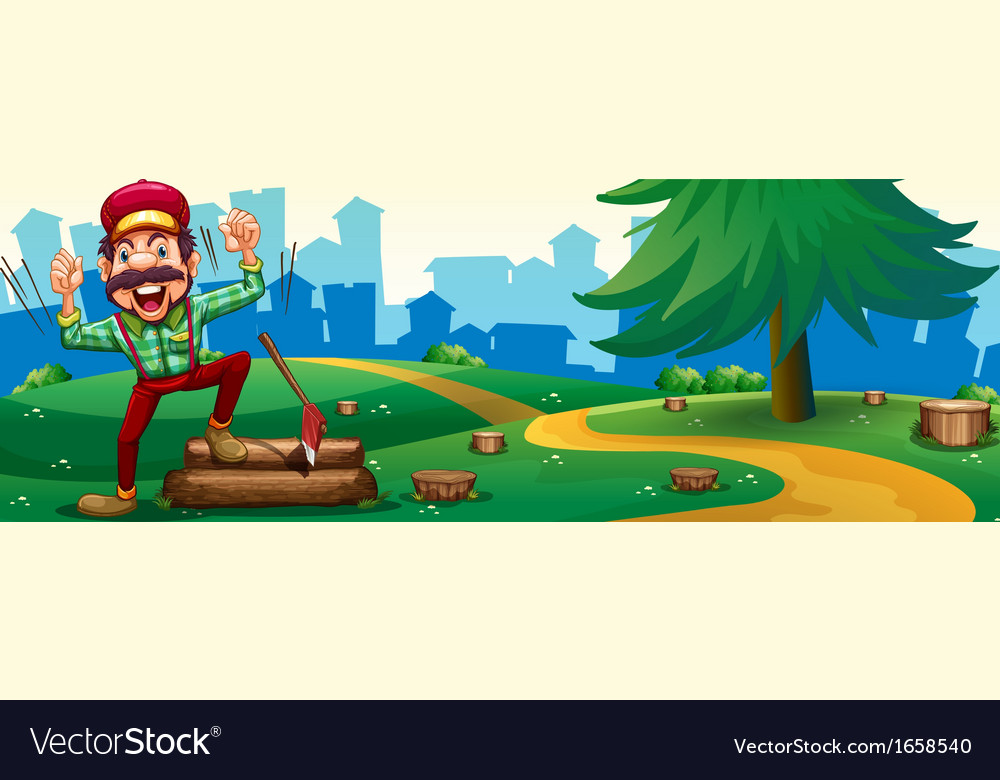 A woodman chopping woods at the hilltop near the vector | Price: 3 Credit (USD $3)