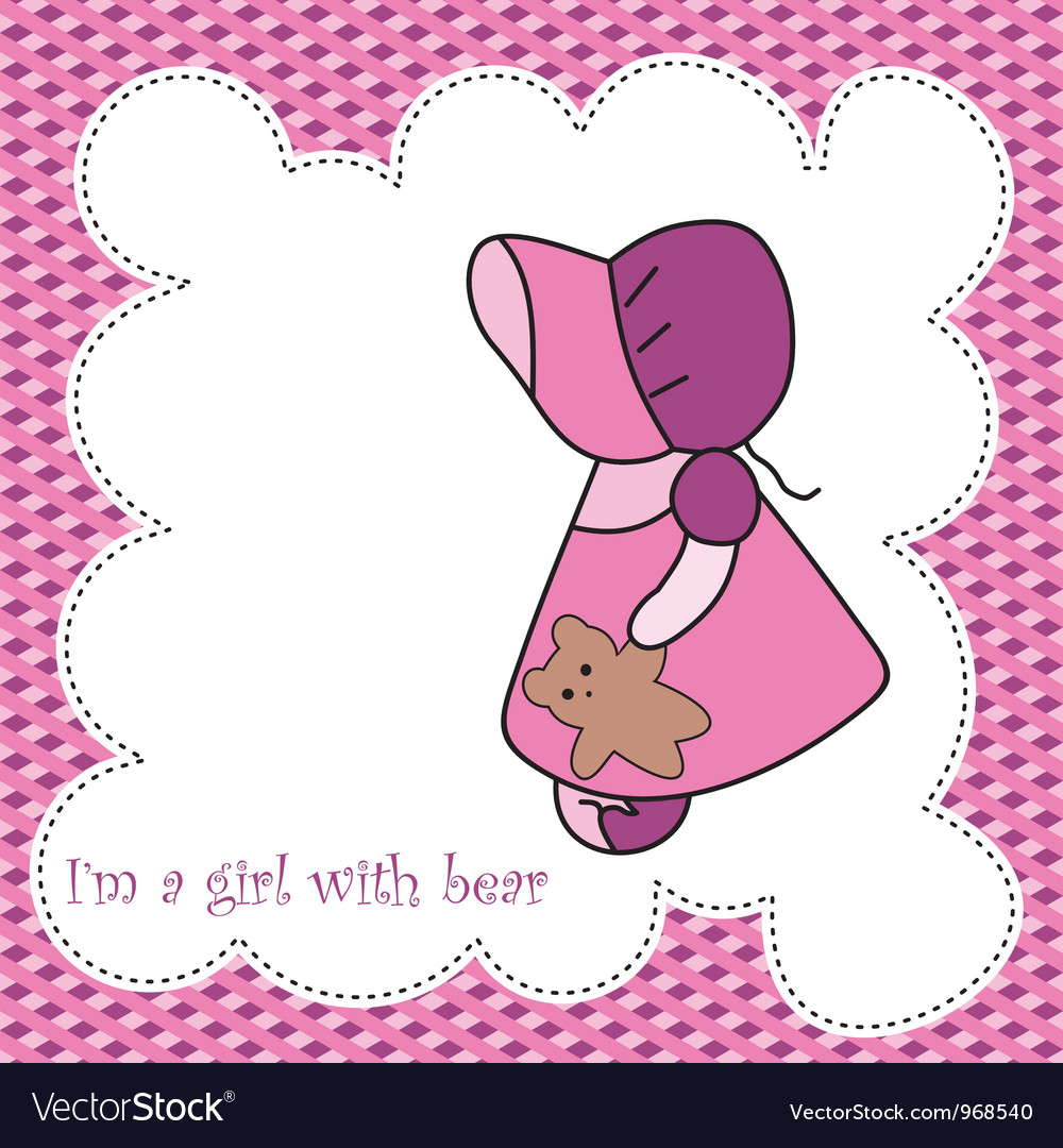 Baby girl arrival announcement card vector   Price: 1 Credit (USD $1)