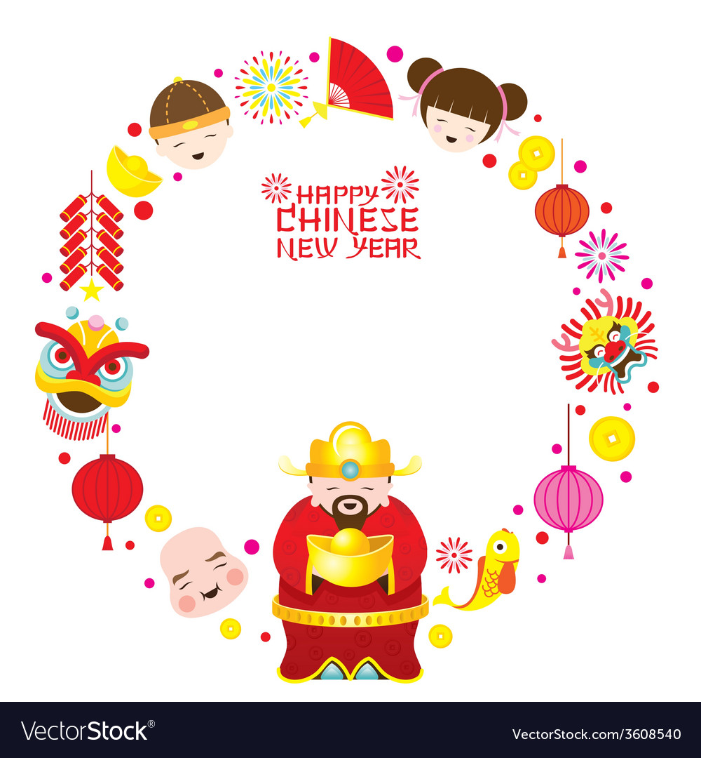 Chinese new year text with icons and chinese god vector | Price: 1 Credit (USD $1)