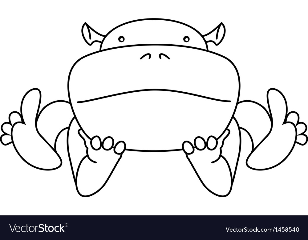 Cute kawaii animalistic cartoon characters hippo vector | Price: 1 Credit (USD $1)