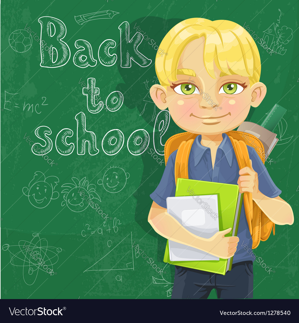 Cute schoolboy with textbooks and notebooks vector | Price: 1 Credit (USD $1)