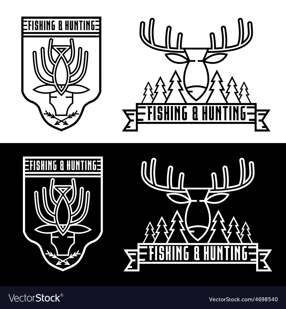 Fishing and hunting line craft vintage labels set vector | Price: 1 Credit (USD $1)