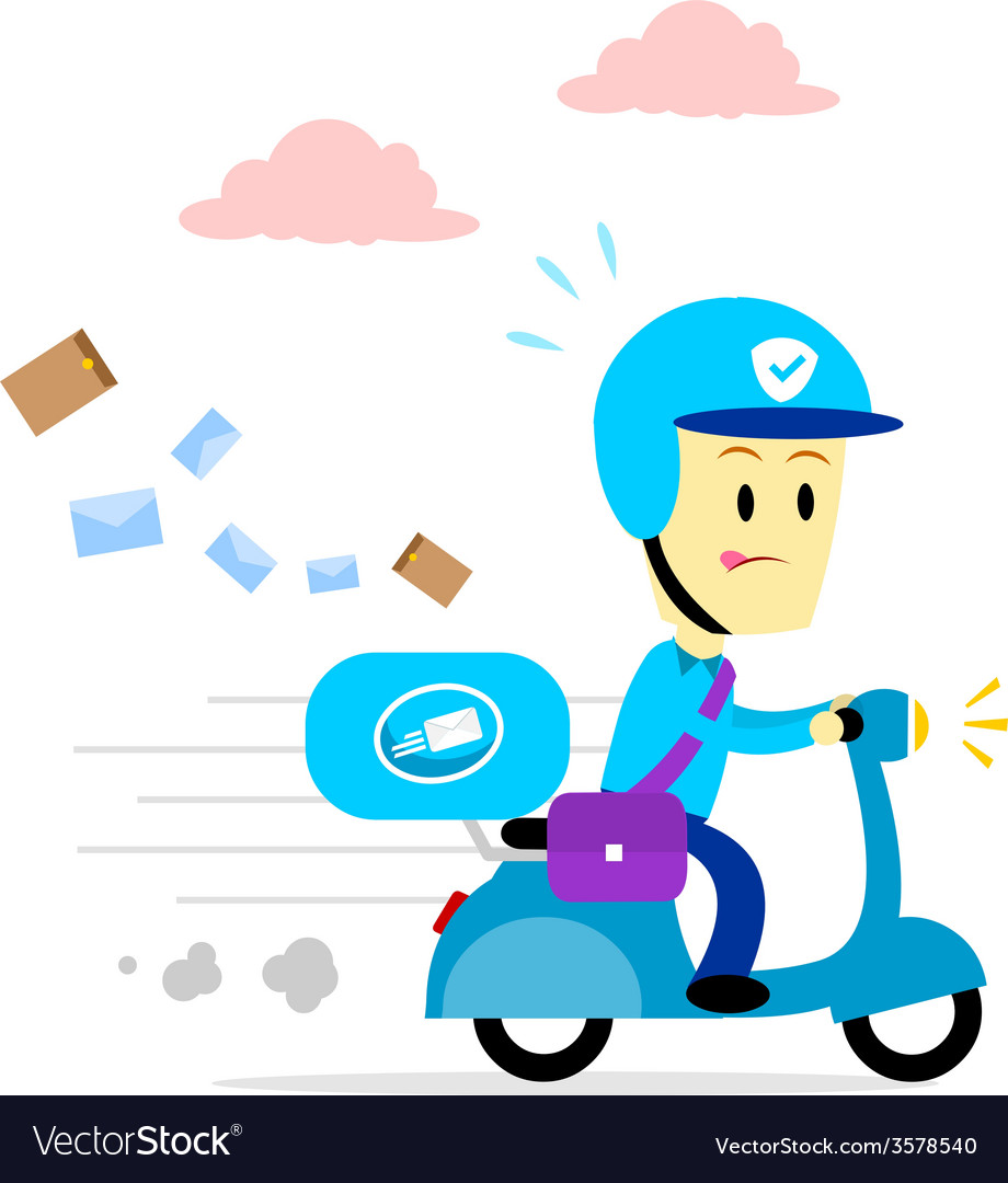 Postman delivering mail by motorcycle vector | Price: 1 Credit (USD $1)