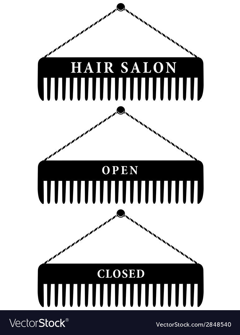 Set of hair salon combs open and closed vector | Price: 1 Credit (USD $1)