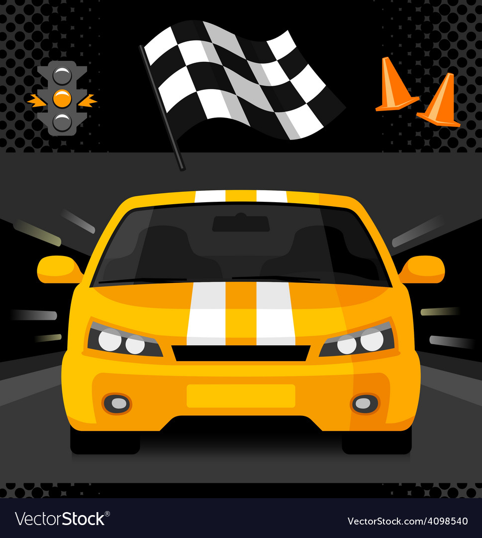 Yellow street racing car with sport checkered flag vector | Price: 1 Credit (USD $1)