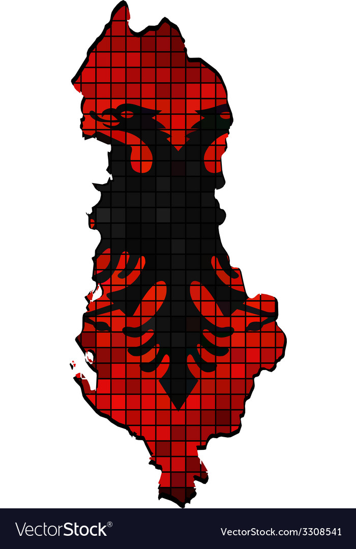 Albania map with flag inside vector | Price: 1 Credit (USD $1)