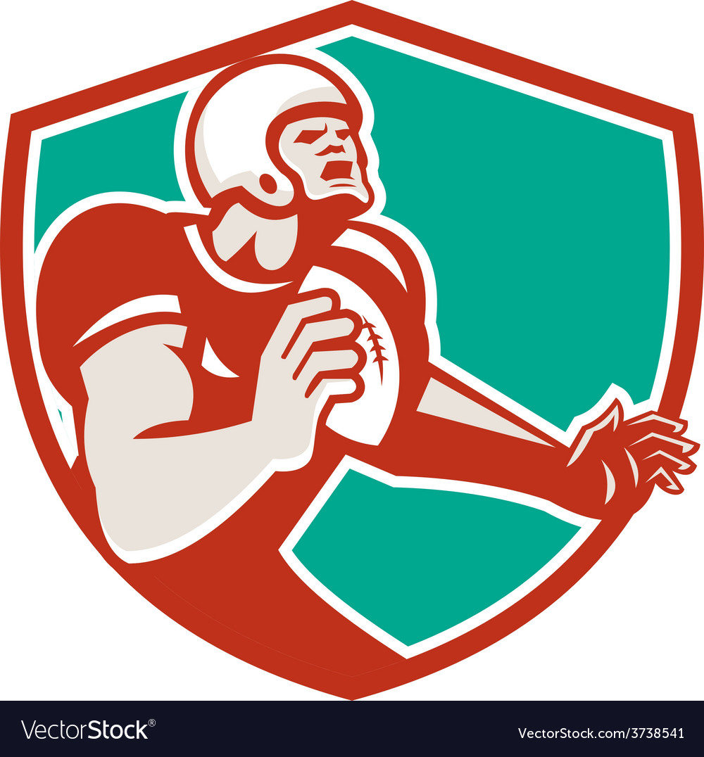 American football player angry shield retro vector | Price: 1 Credit (USD $1)
