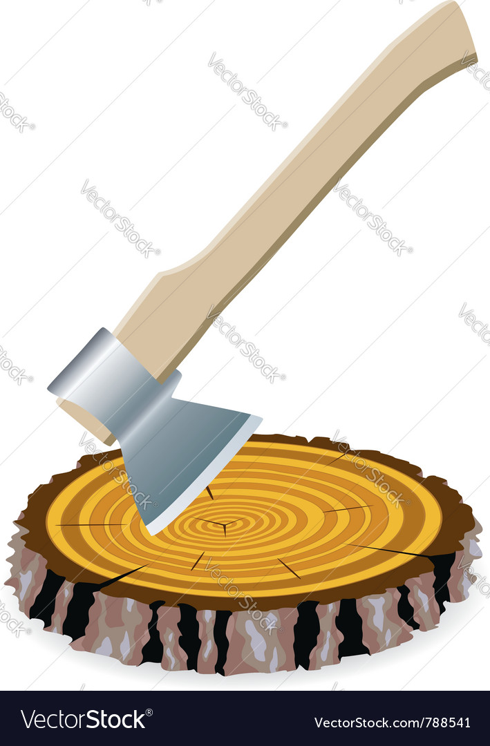 Axe and a wooden cut vector | Price: 1 Credit (USD $1)