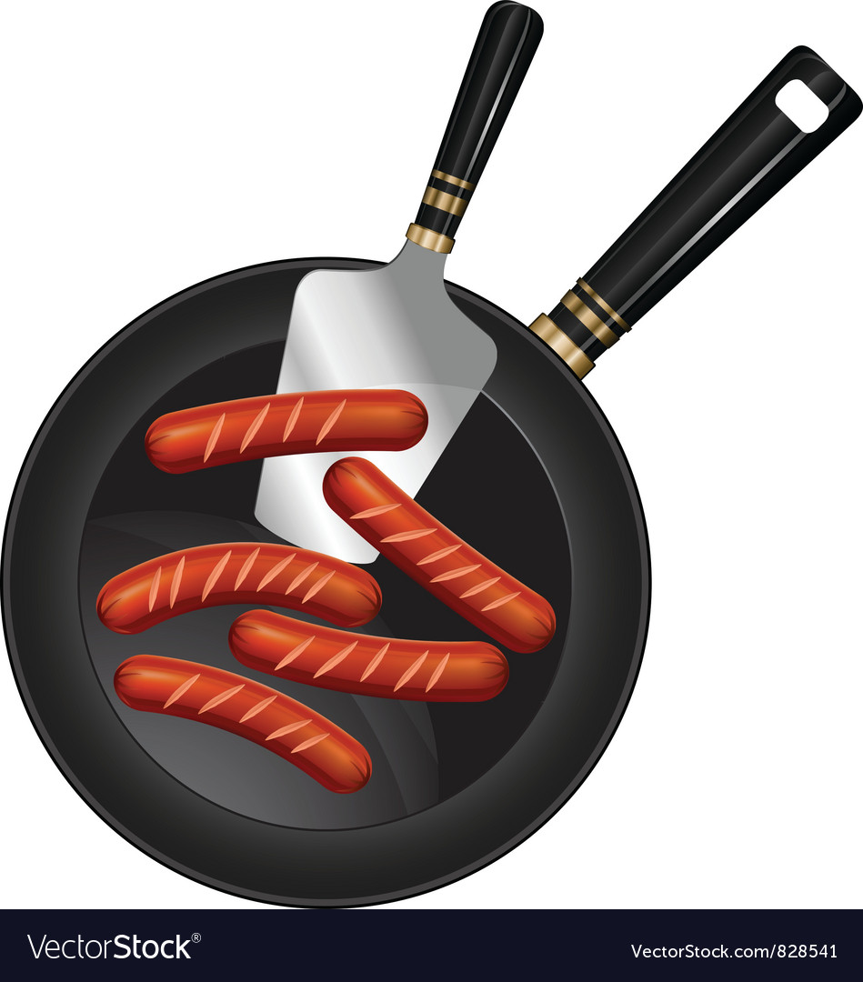 Breakfast sausage pan spoon vector | Price: 3 Credit (USD $3)