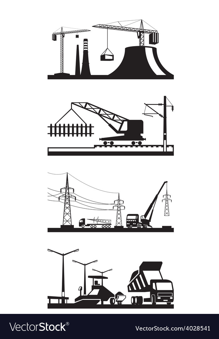 Different types of construction scenes vector | Price: 1 Credit (USD $1)