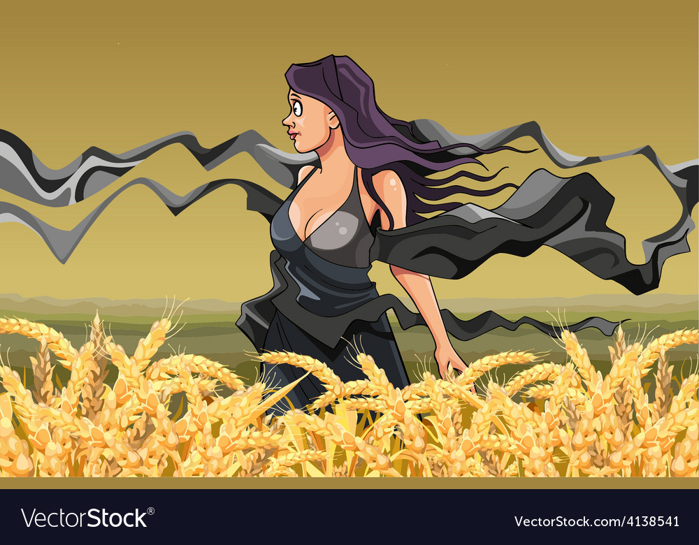Girl with fluttering scarves in the field vector | Price: 3 Credit (USD $3)