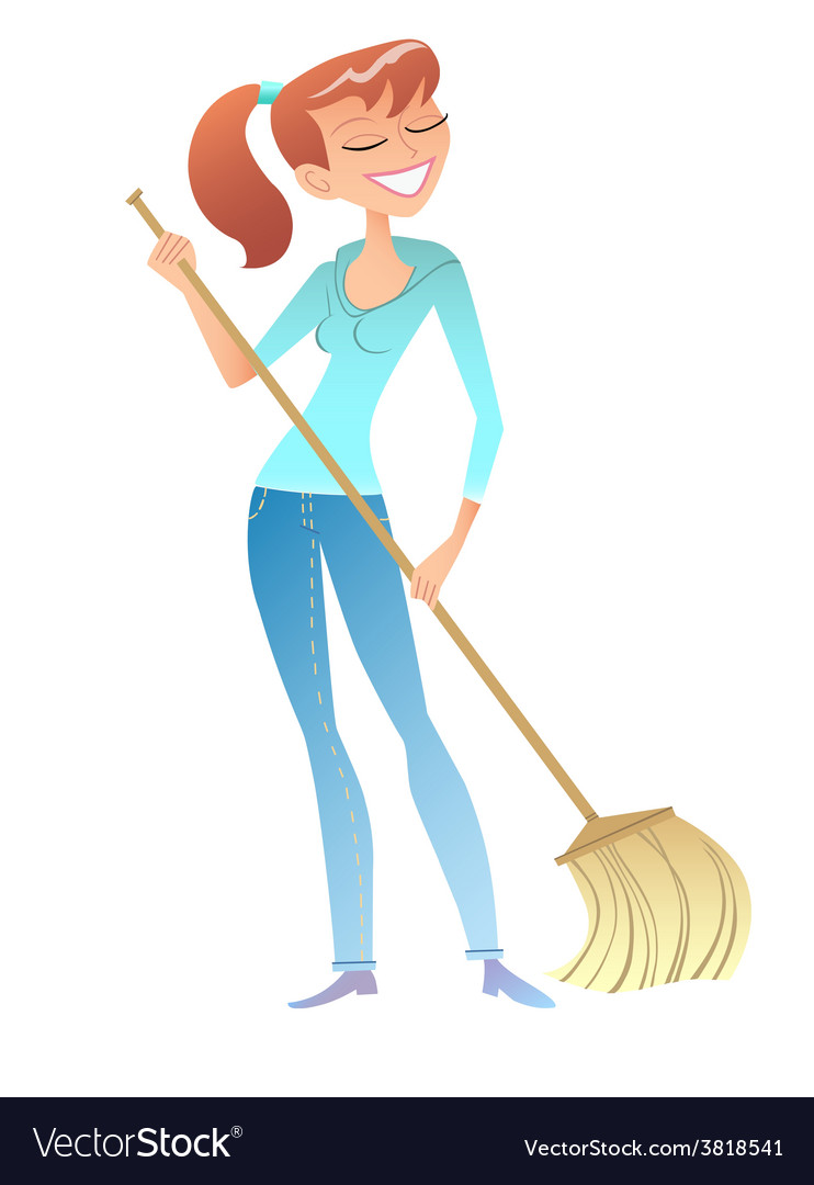 Girl with the broom cleaner housewife volunteer vector | Price: 1 Credit (USD $1)