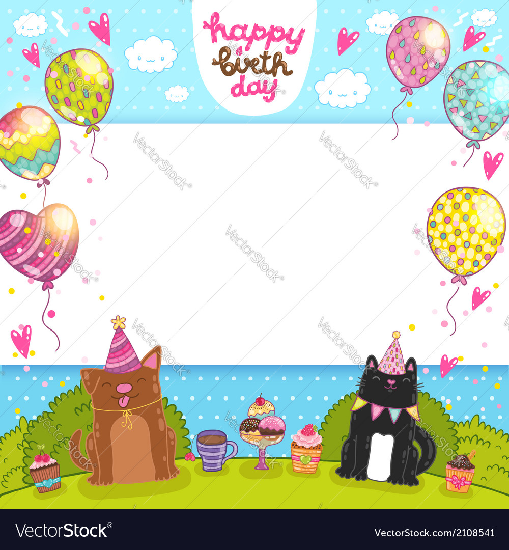 Happy birthday background with cat dog and cupcake vector | Price: 1 Credit (USD $1)