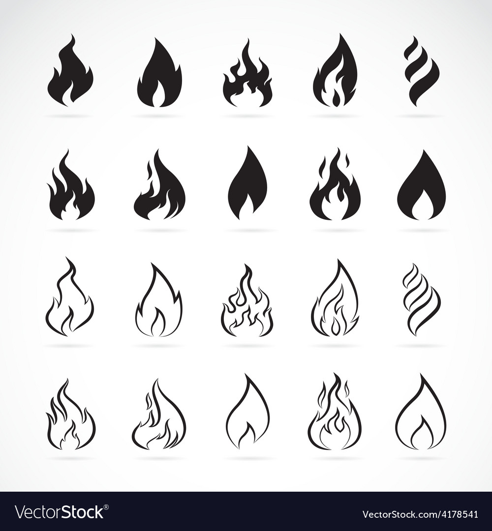 Set of flame symbols vector | Price: 1 Credit (USD $1)